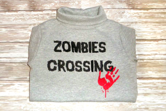 Zombies Crossing Embroidery Halloween Embroidery Design By DesignedByGeeks - Image 1