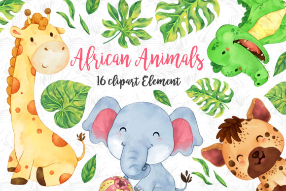 Print on Demand: African Animals Clipart Set 2 Graphic Illustrations By accaliadigital