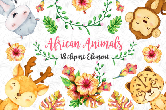 Print on Demand: African Animals Clipart Set 3 Graphic Illustrations By accaliadigital