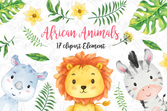 Print on Demand: African Animals Clipart Set Gráfico Ilustraciones Por accaliadigital