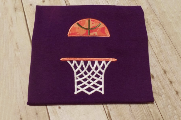 Basketball Hoop Split Applique Sports Embroidery Design By DesignedByGeeks