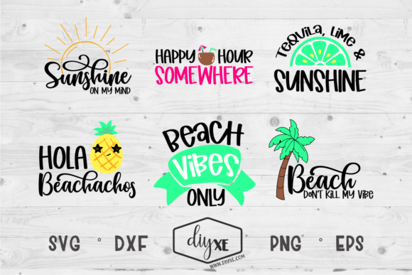 Download Free Beach Vibes Only Bundle Graphic By Sheryl Holst Creative Fabrica for Cricut Explore, Silhouette and other cutting machines.