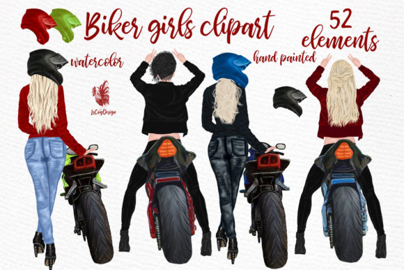 Biker Girls Clipart Female Riding Bike Grafik Illustrationen von LeCoqDesign