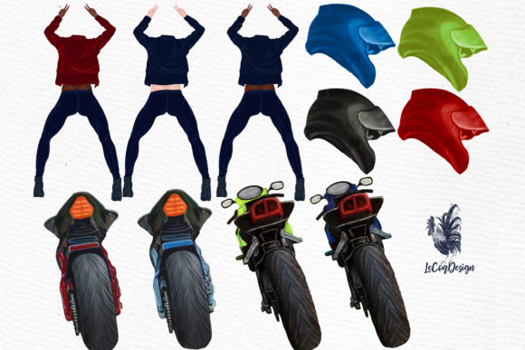Biker Girls Clipart Female Riding Bike Graphic Illustrations By LeCoqDesign - Image 3