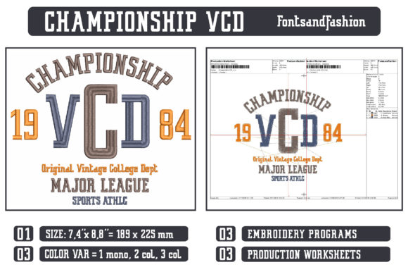 Championship VCD Sports Embroidery Design By Fontsandfashion - Image 2