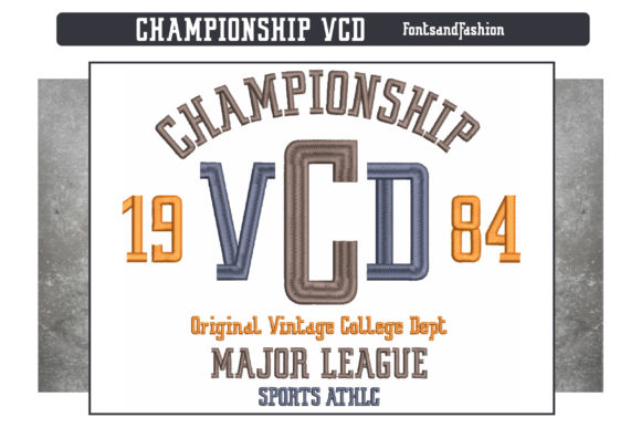 Championship VCD Sports Embroidery Design By Fontsandfashion - Image 3