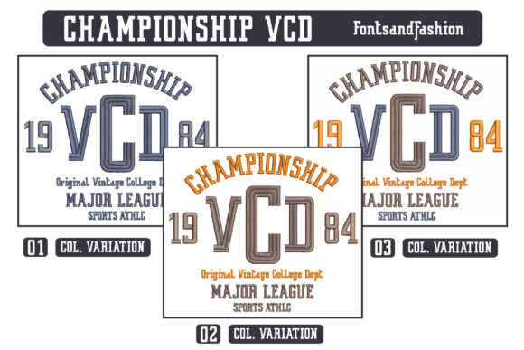 Championship VCD Sports Embroidery Design By Fontsandfashion - Image 4