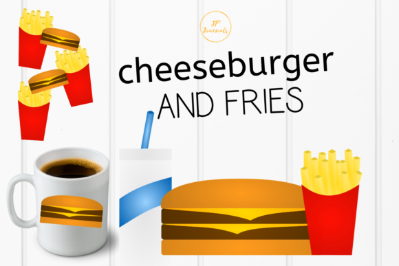 Print on Demand: Cheeseburger and Fries Clip Art Graphic Illustrations By jpjournalsandbooks