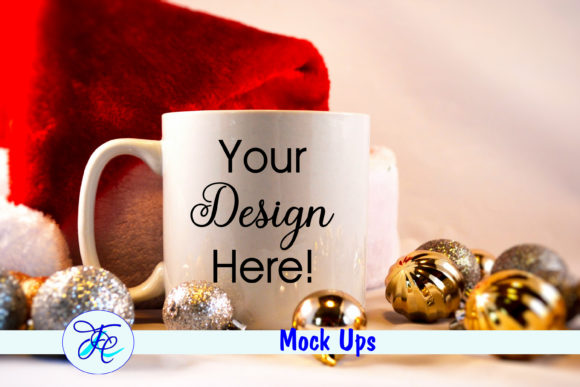 Christmas Cup Mock Up with Gold Bulbs Graphic Product Mockups By Family Creations