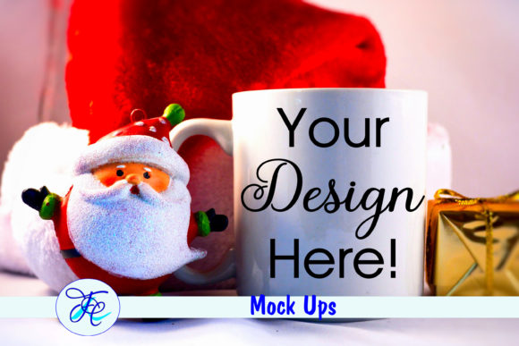 Christmas Cup Mock Up with Santa Graphic Product Mockups By Family Creations