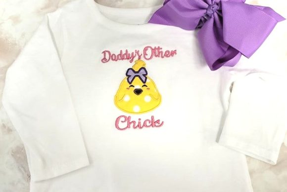 Daddy's Other Chick Applique Baby Animals Embroidery Design By teegems242