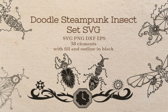 Doodle Steampunk Insect Set Graphic Crafts By Tatyana_Zenartist