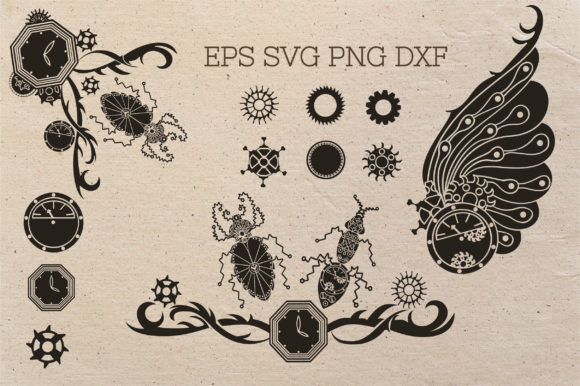 Download Free Doodle Steampunk Insect Set Graphic By Tatyana Zenartist for Cricut Explore, Silhouette and other cutting machines.
