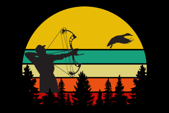 Print on Demand: Duck Hunter Retro Vintage Sunset Sunrise Graphic Logos By SunandMoon - Image 1