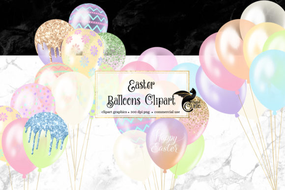 Easter Balloons Clipart Grafik Illustrationen von Digital Curio