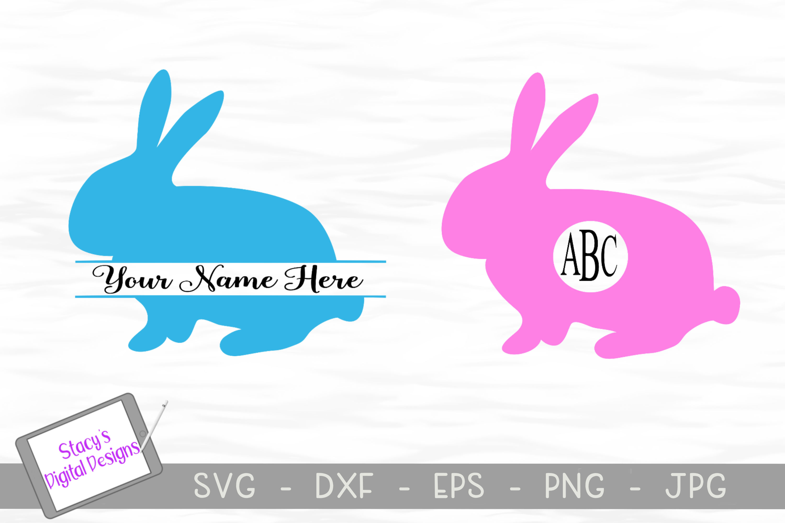 Download Free Easter Bunny Monogram Graphic By Stacysdigitaldesigns Creative for Cricut Explore, Silhouette and other cutting machines.
