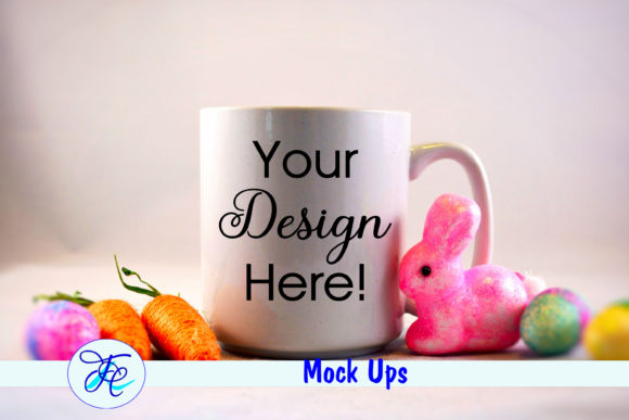 Easter Cup Mock Up with Pink Bunny Gráfico Mockups de Productos Por Family Creations