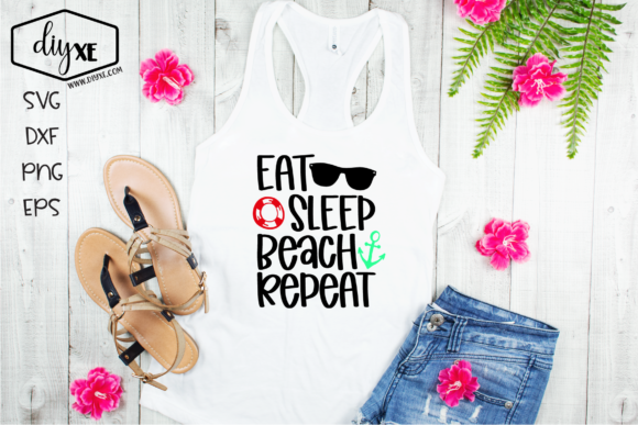 Download Free Eat Sleep Beach Repeat Graphic By Sheryl Holst Creative Fabrica for Cricut Explore, Silhouette and other cutting machines.