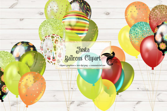 Download Free Fiesta Balloons Clipart Graphic By Digital Curio Creative Fabrica for Cricut Explore, Silhouette and other cutting machines.