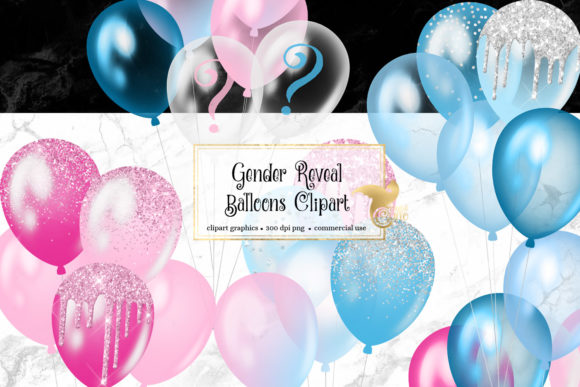 Print on Demand: Gender Reveal Balloons Clipart Graphic Illustrations By Digital Curio - Image 1