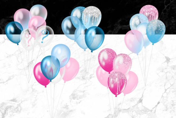 Print on Demand: Gender Reveal Balloons Clipart Graphic Illustrations By Digital Curio - Image 2