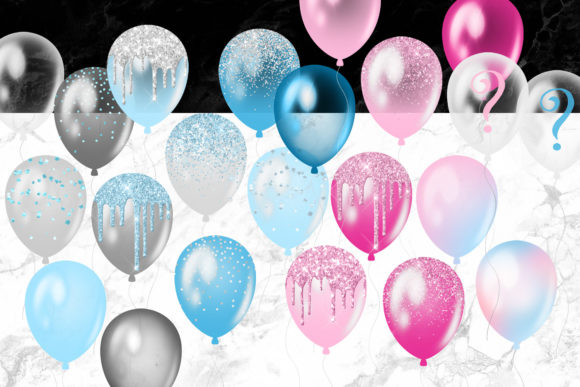 Print on Demand: Gender Reveal Balloons Clipart Graphic Illustrations By Digital Curio - Image 3
