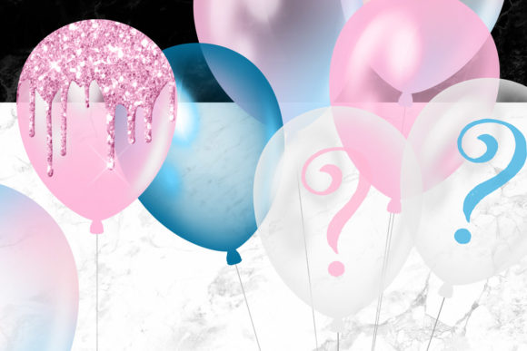 Print on Demand: Gender Reveal Balloons Clipart Graphic Illustrations By Digital Curio - Image 4