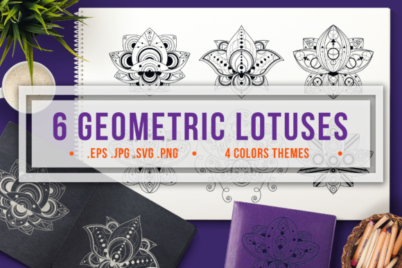 Print on Demand: Geometric Lotuses Set Graphic Objects By barsrsind - Image 1