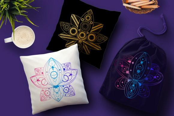 Print on Demand: Geometric Lotuses Set Graphic Objects By barsrsind - Image 2