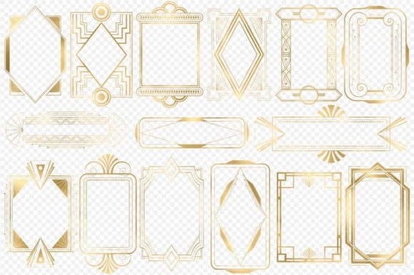 Gold Art Deco Frames Graphic Illustrations By Digital Curio