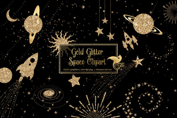 Gold Glitter Space Clipart Graphic Illustrations By Digital Curio - Image 1