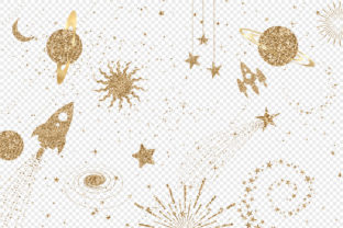 Print on Demand: Gold Glitter Space Clipart Graphic Illustrations By Digital Curio 2