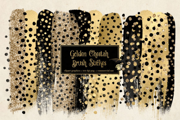 Golden Cheetah Brush Strokes Graphic Illustrations By Digital Curio