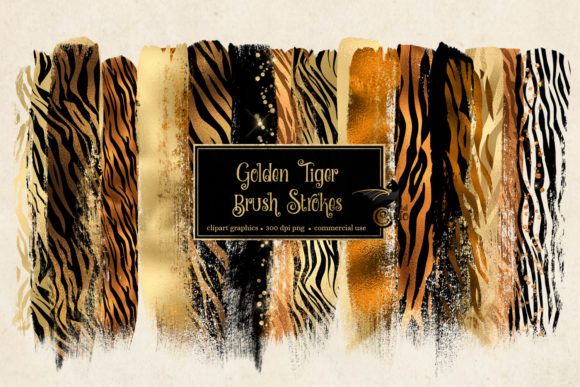 Print on Demand: Golden Tiger Brush Strokes Clipart Graphic Illustrations By Digital Curio