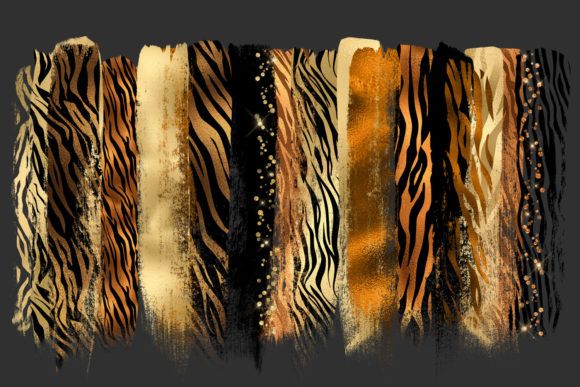 Golden Tiger Brush Strokes Clipart Graphic Illustrations By Digital Curio - Image 2