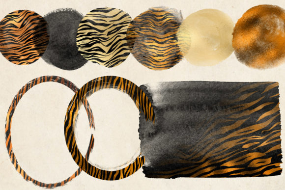 Golden Tiger Brush Strokes Clipart Graphic Illustrations By Digital Curio - Image 3
