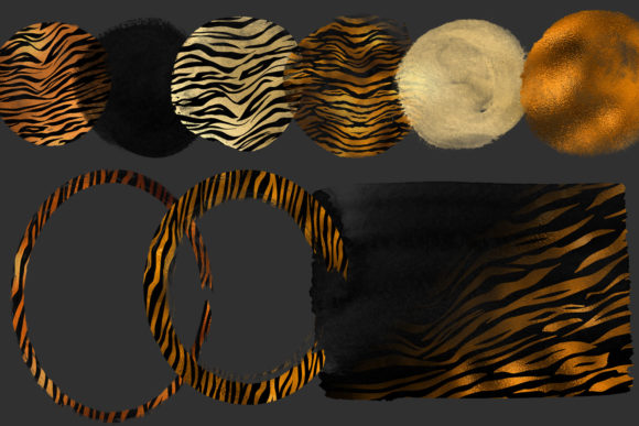 Golden Tiger Brush Strokes Clipart Graphic Illustrations By Digital Curio - Image 4