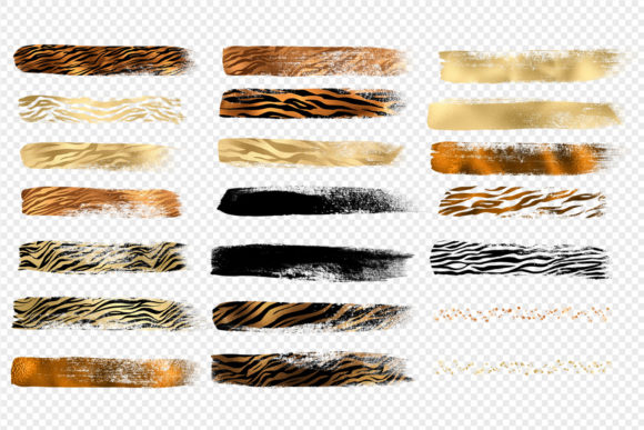 Golden Tiger Brush Strokes Clipart Graphic Illustrations By Digital Curio - Image 5