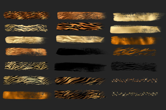 Golden Tiger Brush Strokes Clipart Graphic Illustrations By Digital Curio - Image 6