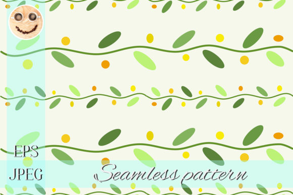 Print on Demand: Green Stems the White Vector Pattern Graphic Patterns By TasiPas