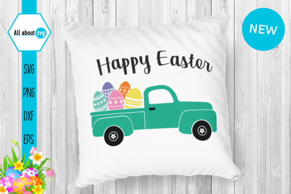 Download Free Happy Easter Truck With Eggs Graphic By All About Svg Creative for Cricut Explore, Silhouette and other cutting machines.