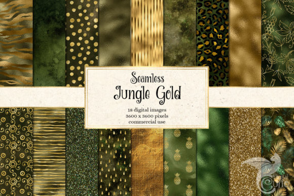 Jungle Gold Digital Paper Graphic Textures By Digital Curio - Image 1