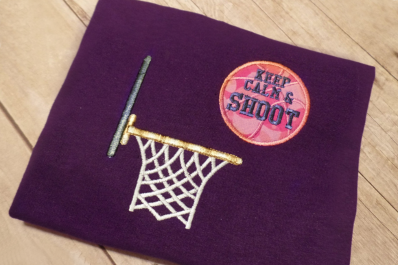 Keep Calm and Shoot Basketball Applique Sports Embroidery Design By DesignedByGeeks - Image 3