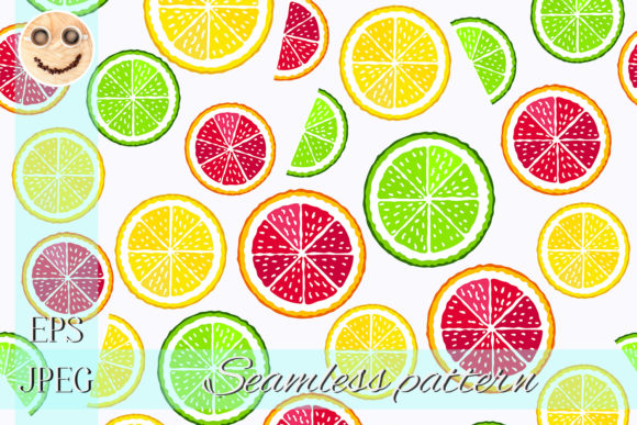 Print on Demand: Lime and Orange Slices Pattern Graphic Patterns By TasiPas