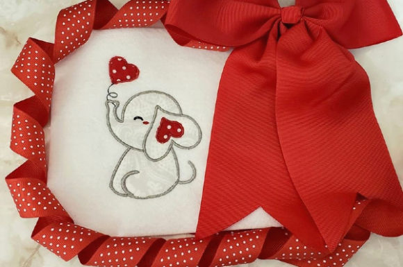 Lovie the Elephant Valentine's Day Embroidery Design By teegems242