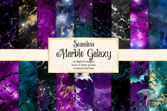 Marble Galaxy Digital Paper Grafik Texturen von Digital Curio