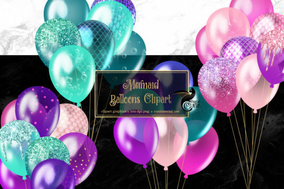 Mermaid Balloons Clipart Grafik Illustrationen von Digital Curio