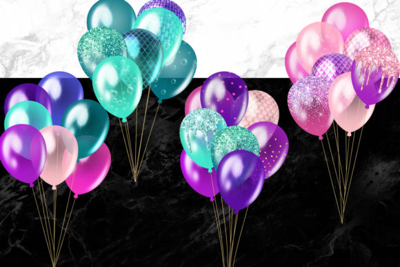 Mermaid Balloons Clipart Graphic Illustrations By Digital Curio - Image 2