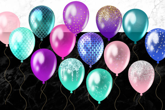 Mermaid Balloons Clipart Graphic Illustrations By Digital Curio - Image 3