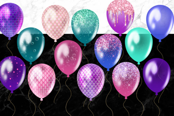 Mermaid Balloons Clipart Graphic Illustrations By Digital Curio - Image 4
